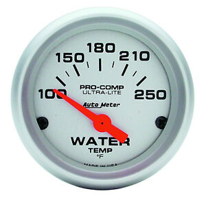 Auto Meter Ultra lite Electric Water Temperature Gauge 2 1 16 52mm 100 250deg