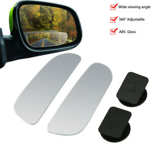 2pcs Universal Car Wide Angle Convex Adjustable Rear Side View Blind Spot Mirror