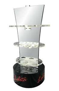 Designs By Lolita Retail Display Rotating Mirrored Stand With 3 Oval Shelves
