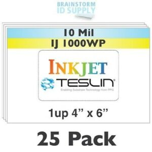 Inkjet Teslin Paper 4 X 6 1 up Perforated 25 Sheet Pack