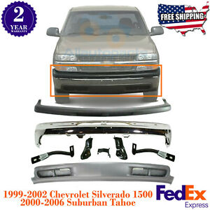 Front Bumper Chrome Kit W Brackets For 99 02 Chevy Silverado 1500 00 06 Tahoe