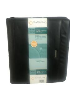 Franklin Covey Black Genuine Leather Portfolio Size 8 5 X 11 New Planner 753975