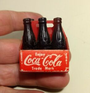 Vintage Miniature Coca Cola 6-Pack Brown Bottles - Soda Advertising Collectibles