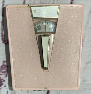 Pink Style House Vintage Bathroom Weight Scale W Front Carry Handle Gold Atomic