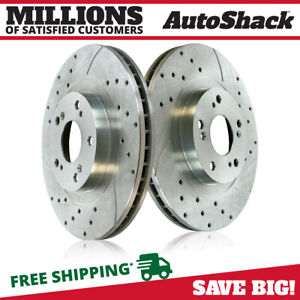 Front Drilled Slotted Disc Brake Rotors Pair 2 For Honda Cr v Civic Acura Rsx