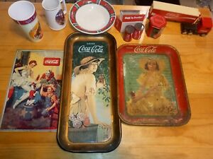 Coca cola collectibles lot (vintage tin  coca cola Olympic pins 2008 China more)
