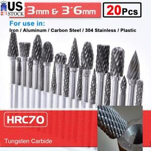 20pcs Engraving Router Drill Bits Tungsten Carbide Burr Set Rotary Grinder Tool