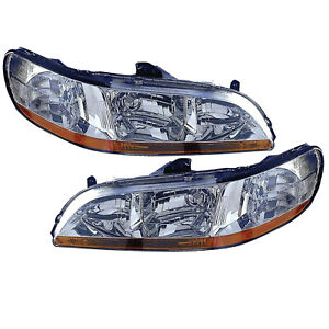 Headlights Left And Right Pair High Quality Capa Fits 2001 2002 Honda Accord