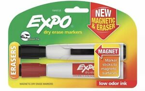 Expo Magnetic Dry Erase Markers With Eraser Chisel Tip Assorted Colors 2 count