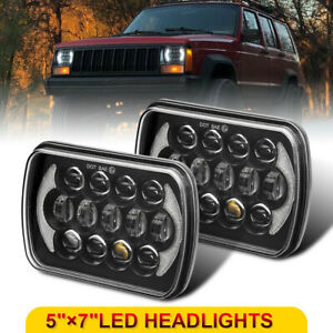 For Jeep Cherokee Xj Pair 5x7 7x6 Led Projector Headlight Hi lo Beam Halo Drl