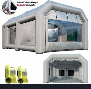 20x13x8ft Inflatable Paint Booth Portable Auto Spray Tent 950w 350w Blowers