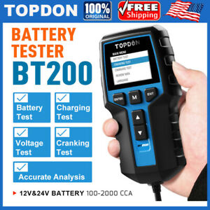 Topdon Bt200 12v 24v Car Battery Load Tester Charging System Analyzer 2000cca