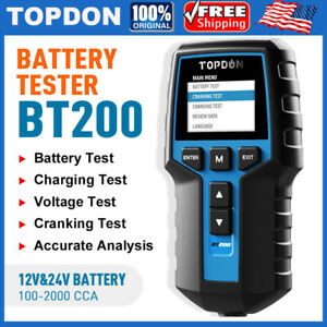 Car Battery Tester Topdon Bt200 12 24 Volt 100 2000cca Starter Charging Analyzer
