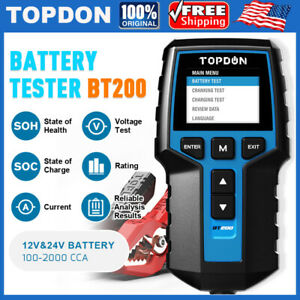 Topdon 12 24v Bt200 Battery Charging System Tester Charge Cranking Diagnostic