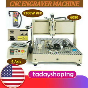 Usb 4 Axis Cnc 6090 Router Engraver 2 2kw Vfd Milling Machine 3d Engraving Rc