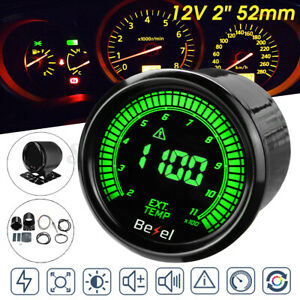 2 52mm Auto Egt Exhaust Gas Temp Gauge Car Led Digital Temperature Meter 12v