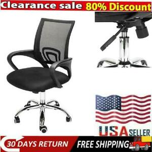 Ergonomic Mesh Swivel Chair Mid back Computer Office Desk Chair Metal Base Black