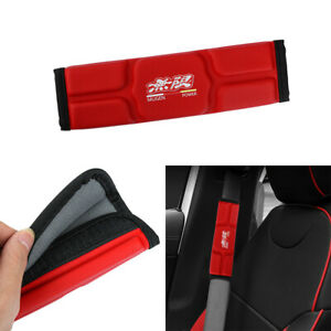 2x Jdm Mugen Red Leather Memory Foam Car Seat Belt Covers Shoulder Pads Cushion