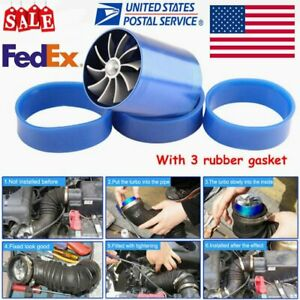 Double Air Intake Turbine Turbo Supercharger Gas Fuel Saver Fan Charger New Us