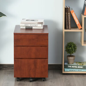 Homcom 3 Drawer Filing Cabinet Home Office File Organizer With 5 Castors Brown