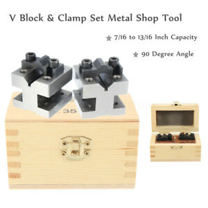 90 V Block Clamp Set 7 16 To 13 16 Precision Hardened Steel Machinist Tool