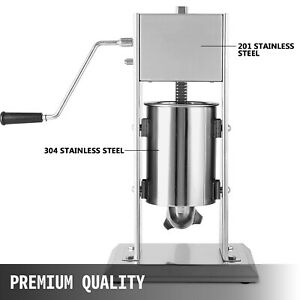 Sausage Stuffer Vertical Stainless Steel 5l 2 Speed Meat Filler Press 5 Nozzles