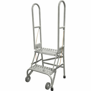 Cotterman Folding Rolling Ladder 2 Steps 350 lb Capacity Perforated Tread