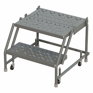 2 step Steel Rolling Ladder W steps casters 16inwx20ind Plat 450lb Cap