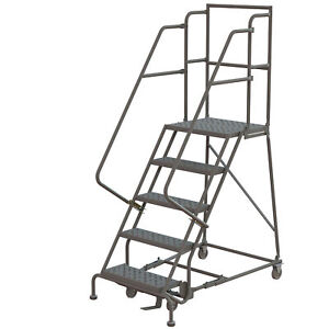 5 step Steel Rolling Ladder W perforated Steps Gry 50inh 24in 450lb Cap