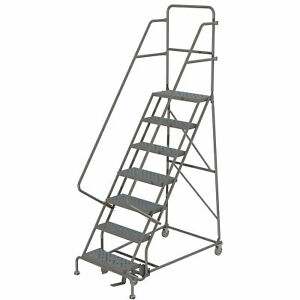 7 step Steel Rolling Ladder W perforated Steps Gry 16inwx10ind Plat 450lb Cap