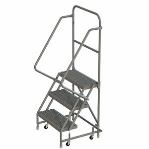 3 step Steel Rolling Ladder W serrated Steps casters 16inwx10ind Plat 450lb Cap