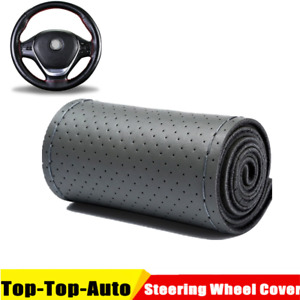 Gray Genuine Leather Auto Diy Car Steering Wheel Cover With Needles And Thread