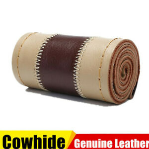 15 38cm Dia Genuine Leather Diy Car Steering Wheel Cover With Needles Thread