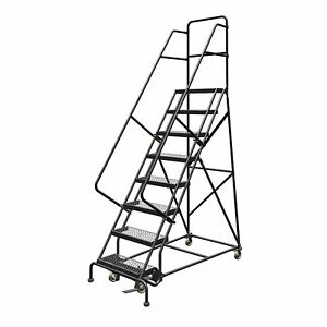 8 step Steel Rolling Ladder W steps Gry Swivel rigid Casters 24inwx10ind Top