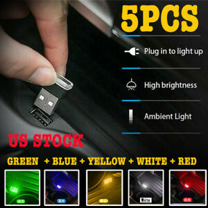 5 Color Mini Usb Led Night Light Car Interior Neon Atmosphere Ambient Lamp Decor