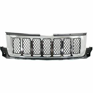 New Grille Chrome Shell Primed Black Insert Fits Jeep Grand Cherokee 2011 2013