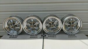 Vintage Set Of 4 Keystone Raider 15x7 15 X7 Chrome Wheels Rims Uni Lug Tri Lug