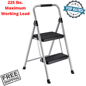 Folding Step Stool Steel Platform Two Step Compact Working Ladder Portable New