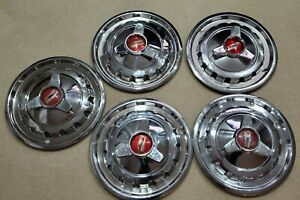 5 Vintage 1957 Chevy Belair 150 210 14 Three Bar Spinner Hubcaps Wheel Covers