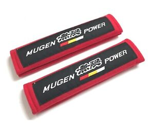 2pcs Mugen Red Fabric Soft Cotton Embroidery Logo Car Seat Belt Covers Shoulder