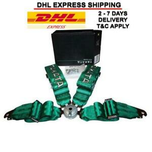 Takata Green Race 4 Point Snap on 3 Racing Seat Belt Harness Express Shipping