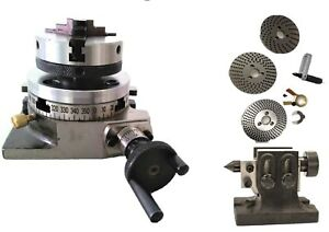 Rotary Table 4 With Back Plate 65 Mm 3 Jaw Chuck Dividing Plates Tail Stock