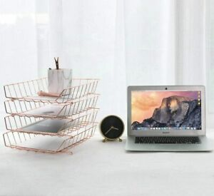 Stackable Letter Tray 4 tier Desk File Organizer For Mails Magazines documents