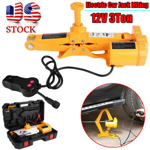 12v 3 Ton Electric Scissor Car Automotive Jack Lifting 1 2 Impact Wrench Tools
