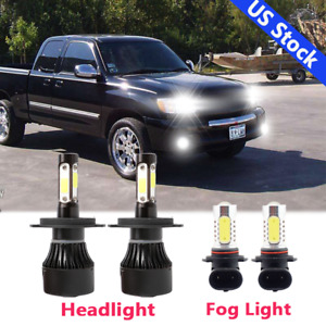 For Toyota Tundra 2000 2006 Combo Led Bulbs Kit Headlight Foglight 6000k Cob 4pc