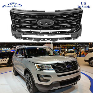 Gloss Black Front Bumper Upper Grille Grill For 2016 2017 Ford Explorer