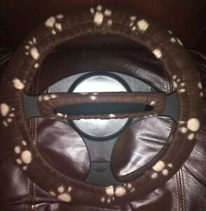Paw Prints brown And Taupe Fleece Steering Wheel Rearview Mirror Cover Set