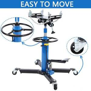 1100lbs Transmission Jack 2 Stage Hydraulic W 360 For Wheels Lift Hoist Blue