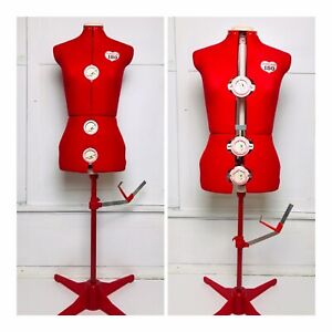 Singer Vintage Model 150 12 Dial Seamstress Adjustable Dress Form Mannequin Red