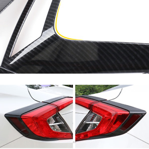 For Honda Civic 2016 2020 Carbon Abs Tail Rear Light Lamp Cover Trim Protection